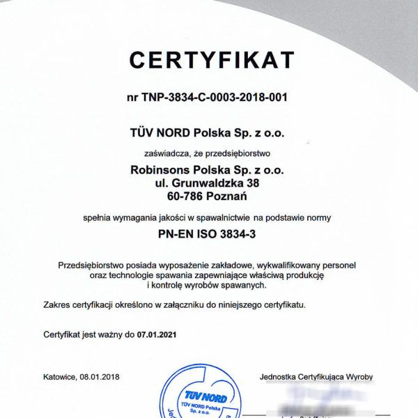 Ceryfikat PN-EN-ISO-3834