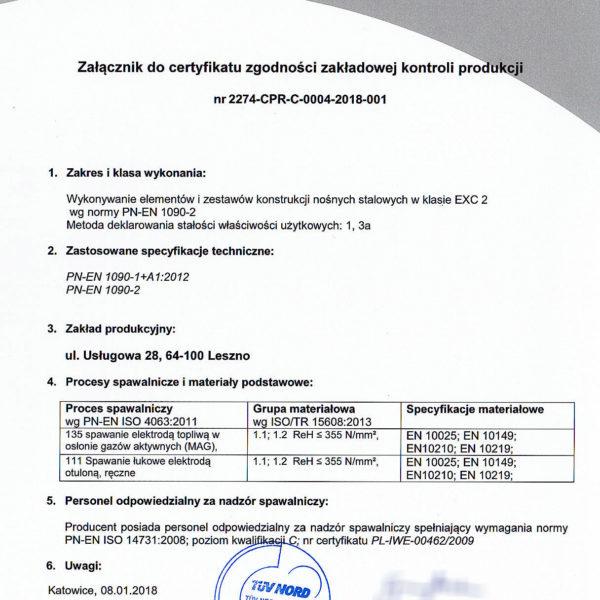 Załącznik do certyfikatu ZKP